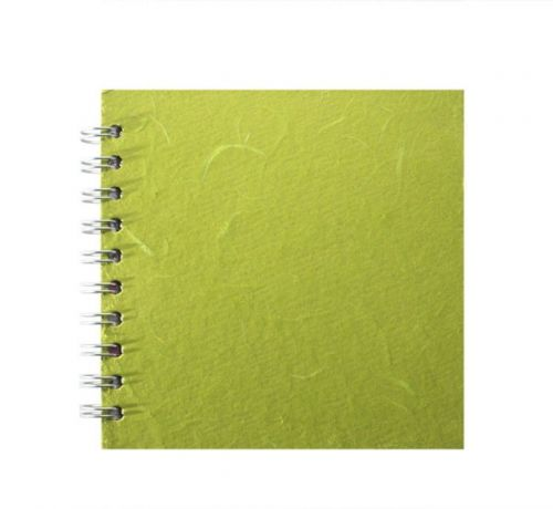"Pink Pig 6x6"" Classic Fat White Cartridge Paper Sketchbook - silk lime green"
